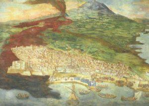 Guide Vulcanologiche Etna - Storia geologica dell'Etna - L'eruzione del 1669 raffigurata nel dipinto del pittore Giacinto Platania